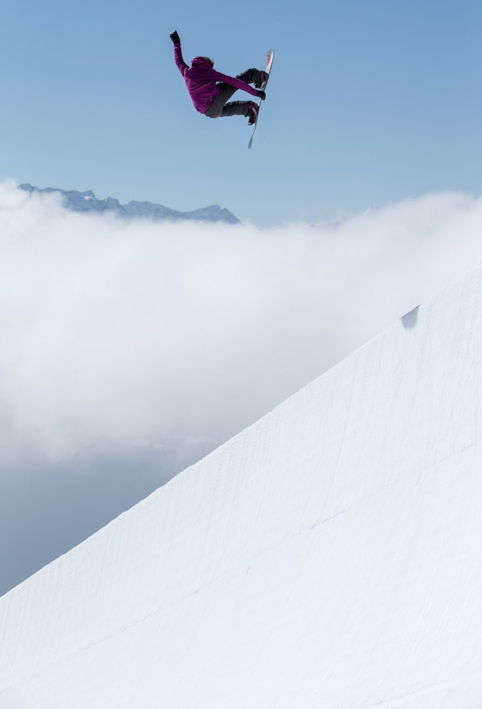 Kelly Clark doing what she knows best. Photo: Philipp Ruggli
